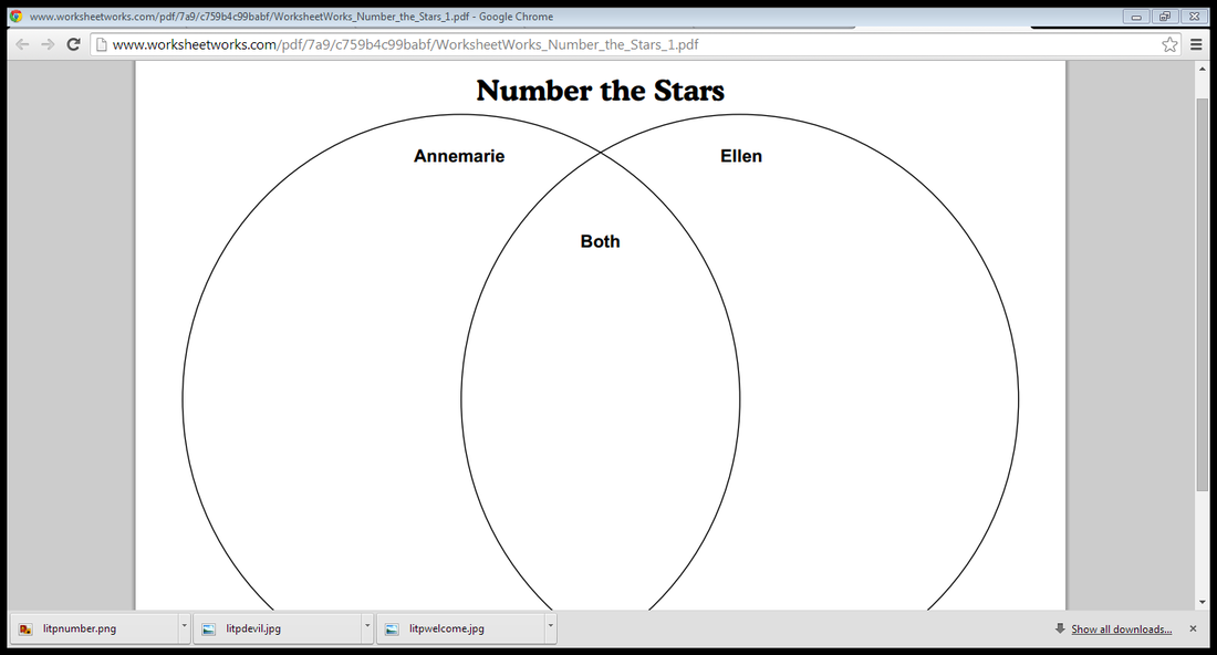 Number the stars literature portfolio books fall open we fall in venn diagram the students will list characteristics that both annemarie and ellen share encourage students to focus on specific details from the text ccuart Choice Image